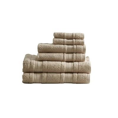 6pc Roman Super Soft Cotton Bath Towel Set Tan
