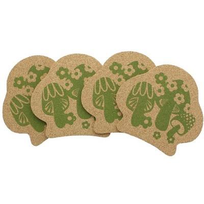 Crowded Coop, LLC Retro Cork Coaster Set - Mushroom - Set of 4