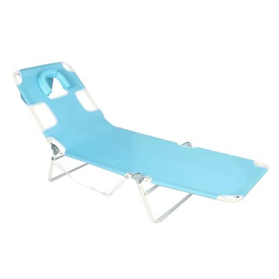 Face Down Beach Chaise Lounge - Blue - Ostrich