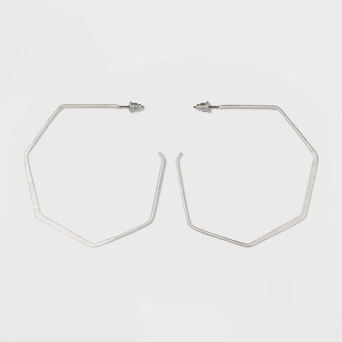 Open Flattened Hexagon Hoop Earrings - Universal Thread™ - image 1 of 3