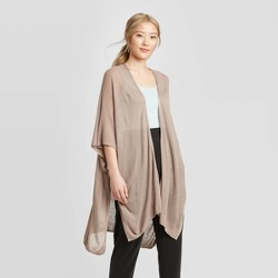 Women's Light Weight Open Knit Ruana - A New Day™ Brown