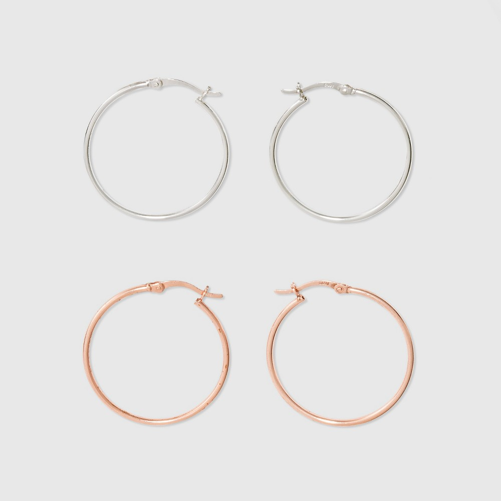 Hoop Click Top Rose Gold & Silver Plated Two Earring Set - A New Day Rose Gold/Silver