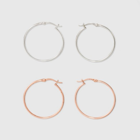 Hoop Click Top Rose Gold & Silver Plated Two Earring Set - A New Day™ Rose Gold/Silver - image 1 of 1