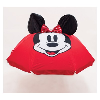Disney Mickey Mouse & Friends Minnie Mouse Summer Beach Umbrella - 6'x6' White/Pink