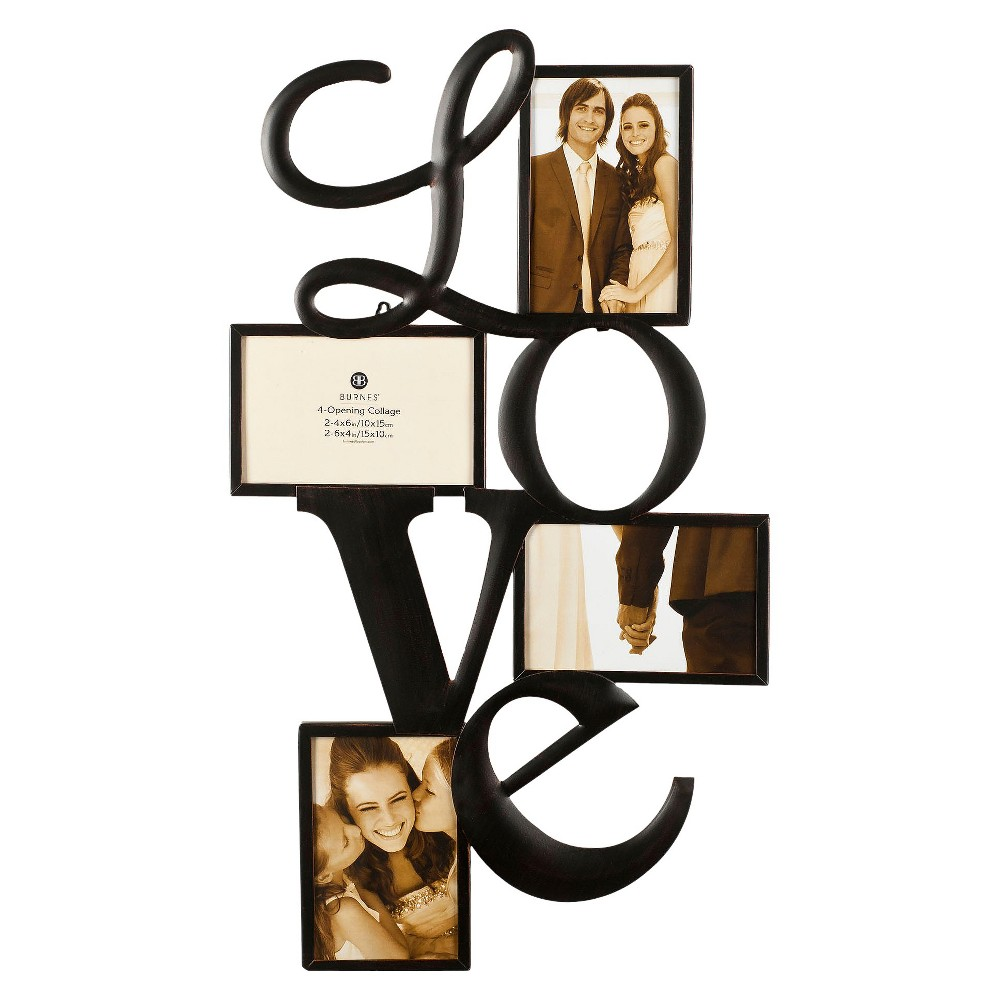 Image of Burnes 4-Opening Venetian Copper Love Collage Frame, Black