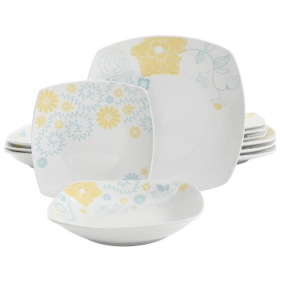 Gibson Home Summerfield Patterned Complete 12 Piece Square Dinnerware Set with Multi Sized Plates and Bowls, Blue/Yellow Floral Pattern
