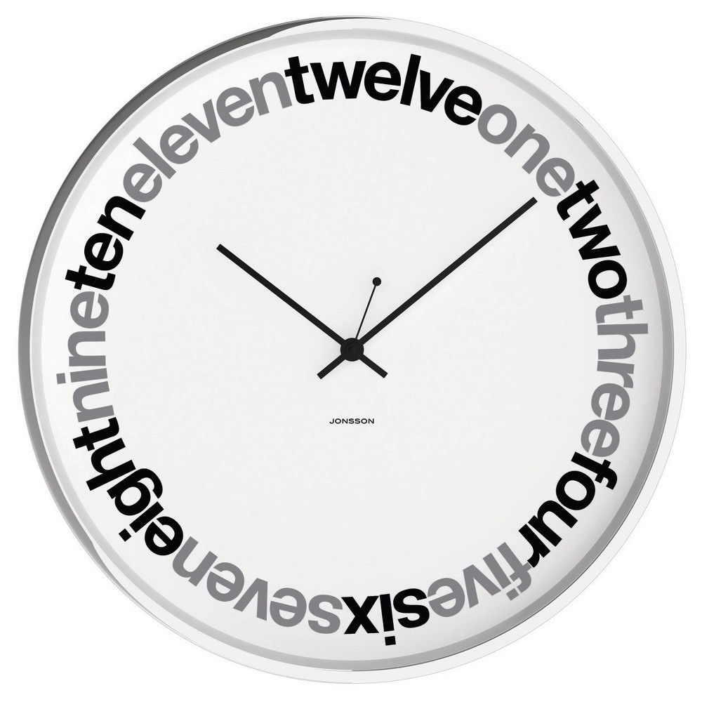 Chrome 12 Round Wall Clock White - Jonsson Timeware