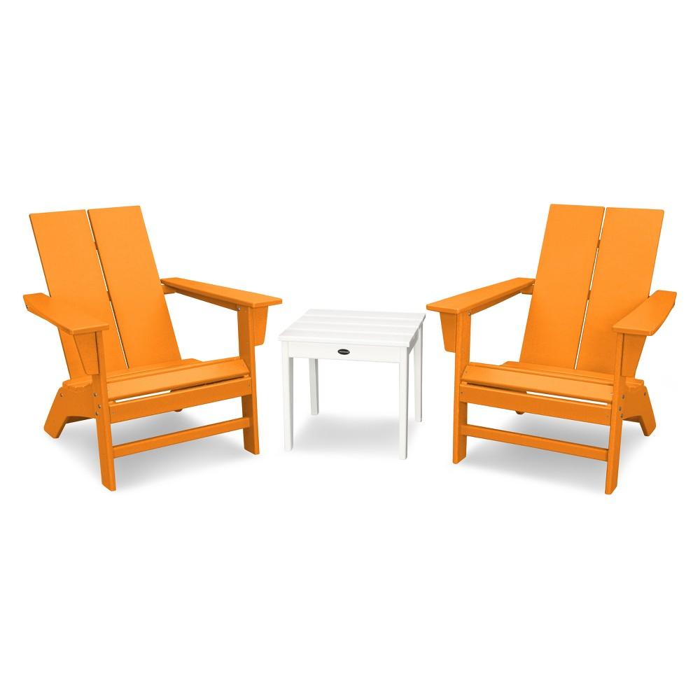 St. Croix 3pc Contemporary Adirondack Set - Tangerine/White (Orange/White) - Polywood