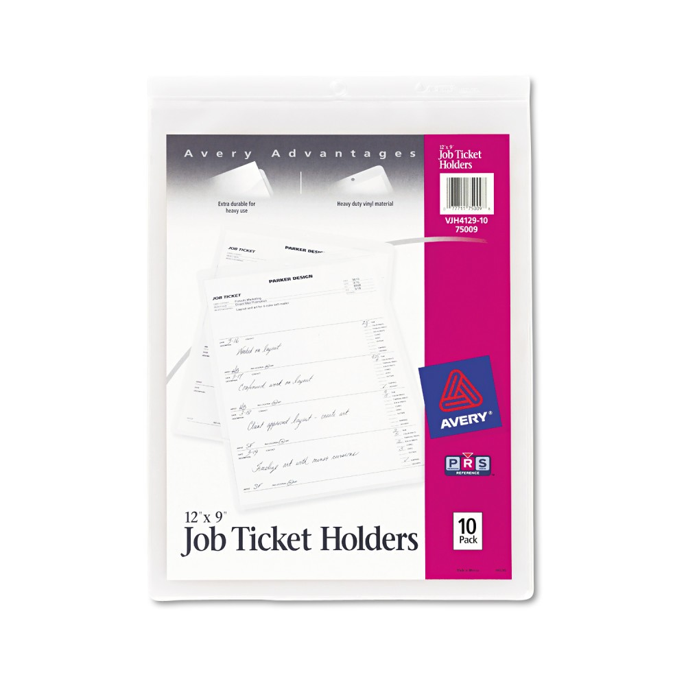 Avery Job Ticket Holders, Heavy Gauge Vinyl, 9 x 12, 10/Pack, White