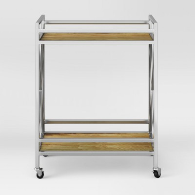Polished Chrome and Wood Bar Cart - Fully Assembled Store Pick Up - Project 62™