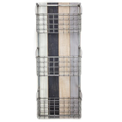 """31.5"""" x 12"""" x 6.3"""" Triple Pocket Wood and Metal Wired Wall Organizer and Storage Basket - American Art Decor"""