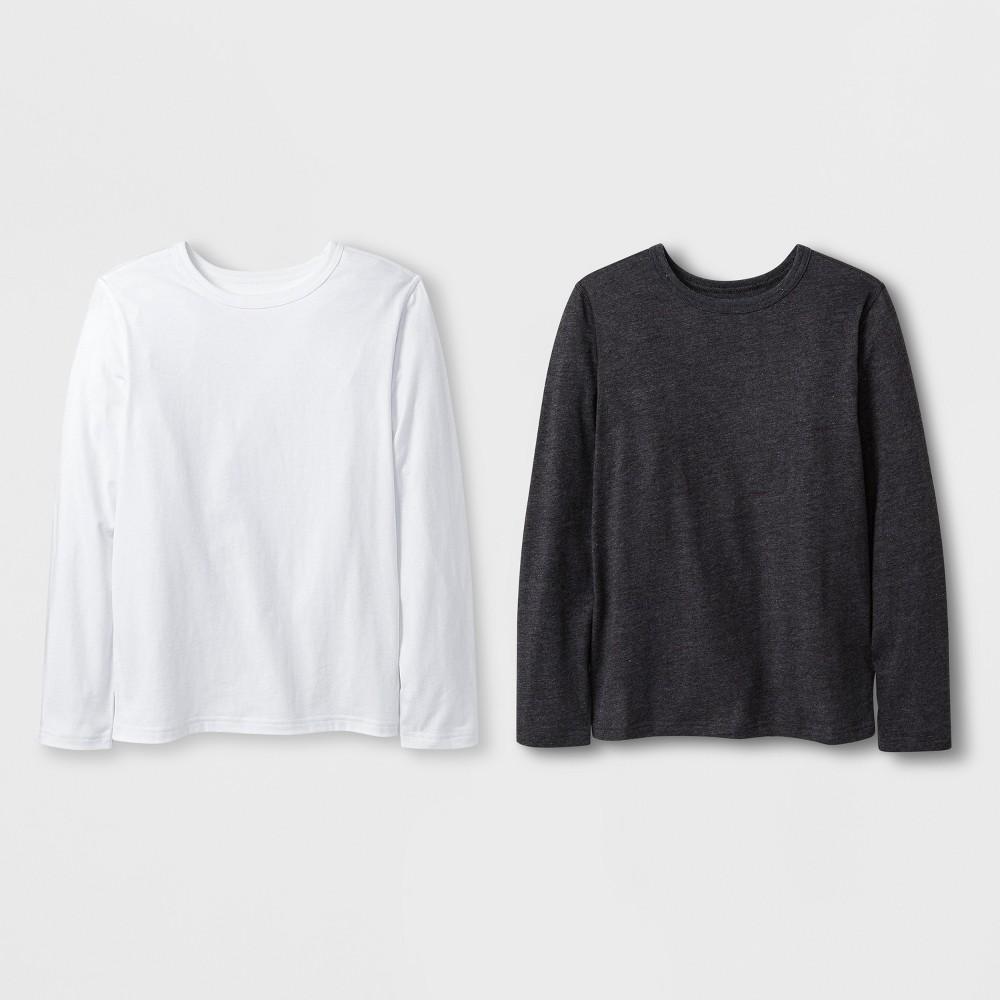 Boys' 2pk Adaptive Long Sleeve T-Shirt - Cat & Jack Black/White S, Gray
