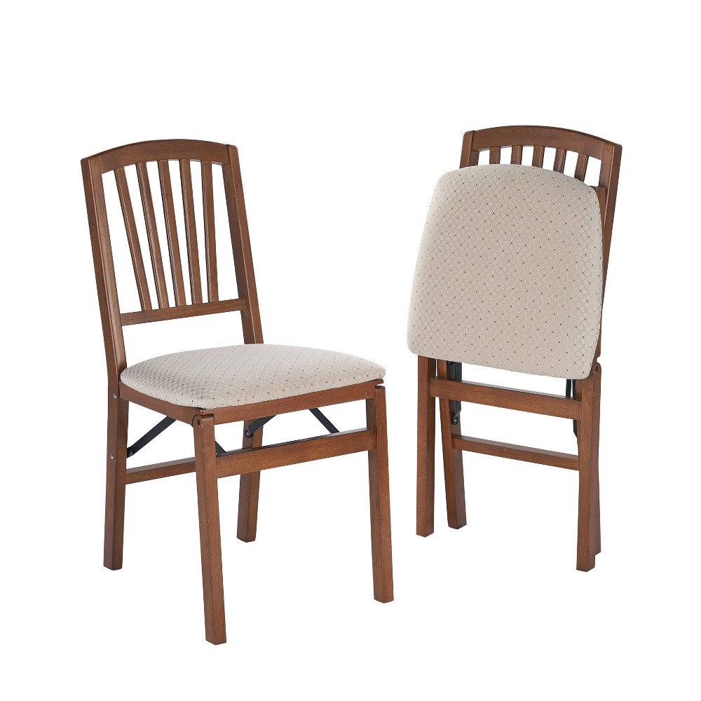 Image of 2 Piece Slat Back Folding Chair Fruitwood - Stakmore