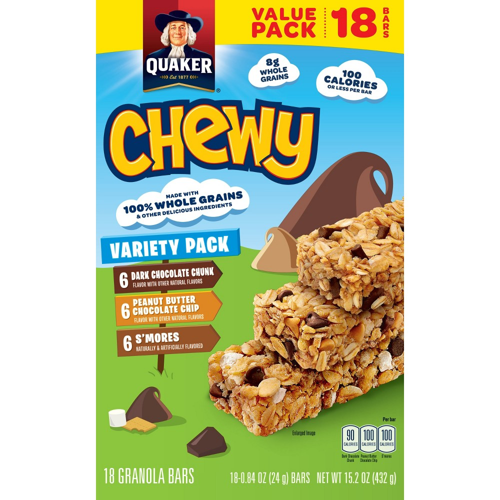 Quaker Chewy Dark Chocolate Chunk, Peanut Butter Chocolate Chip & S'mores Granola Bars Variety Pack - 15.2oz