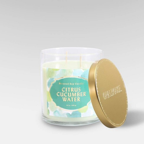 15.1oz Lidded Glass Jar 2-Wick Candle Citrus Cucumber Water - Opalhouse™ - image 1 of 2