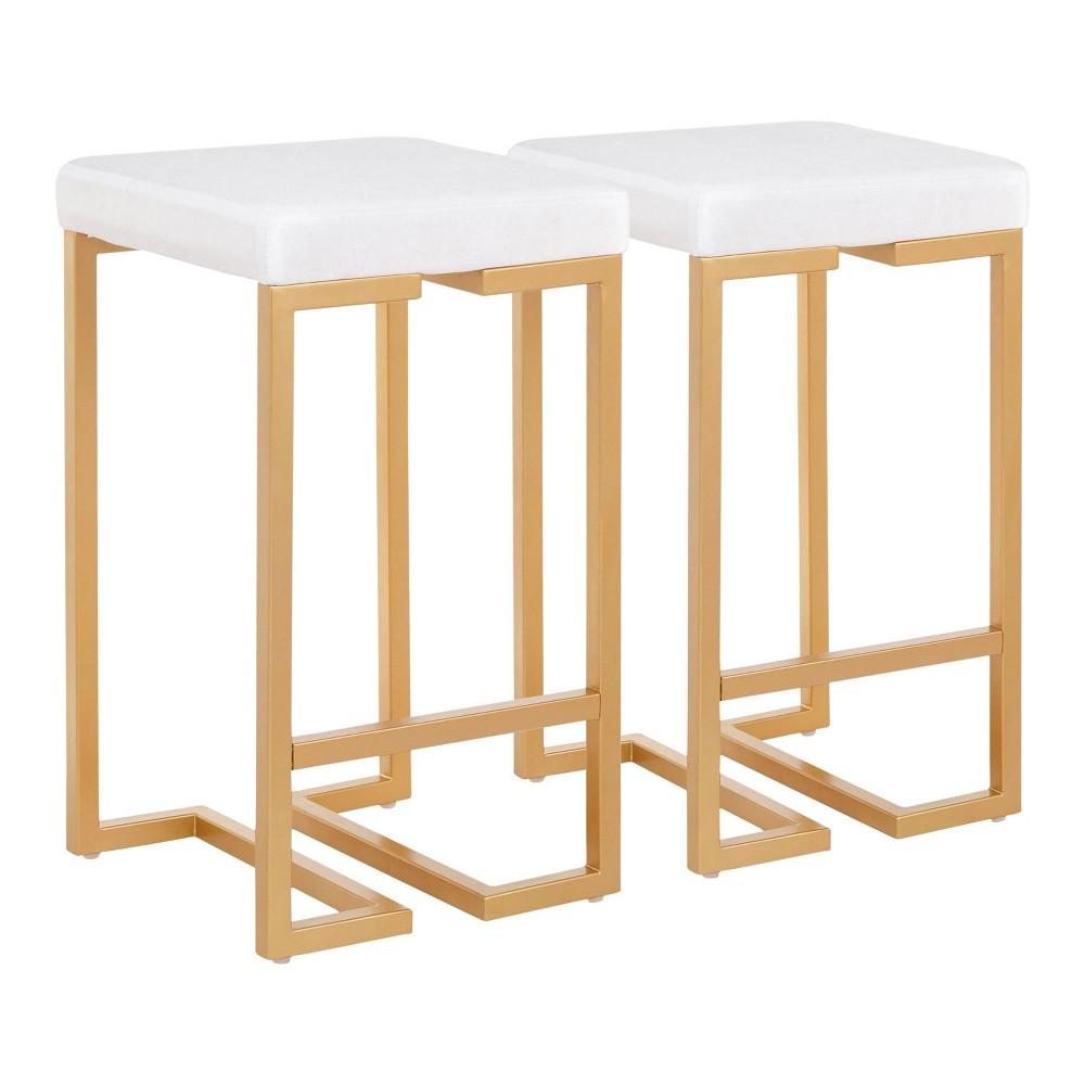Set of 2 Midas 26 Contemporary Glam Counter Stool Gold/White Velvet Cushion - LumiSource
