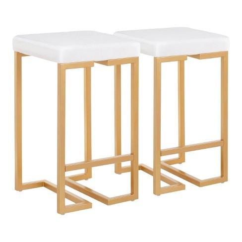 "Set of 2 Midas 26"" Contemporary Glam Counter Height Barstool Gold/White Velvet Cushion - LumiSource - image 1 of 4"