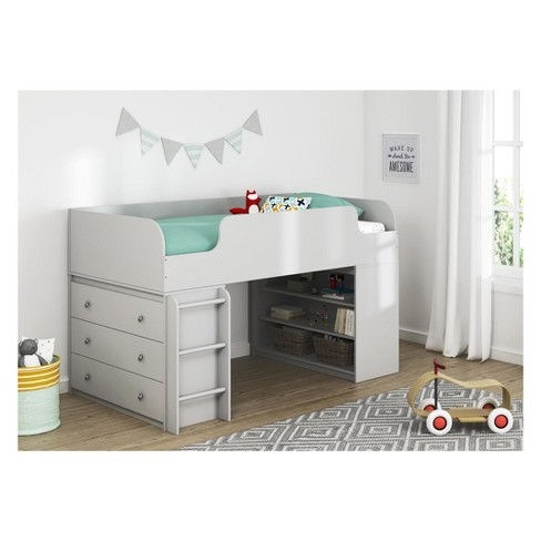 Cody Kids Loft Bed with Bookcase and 3 Drawer Dresser Dove Gray - Room & Joy