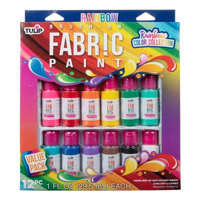 12pk Brush-On Fabric Paint Rainbow Color Collection - Tulip Color