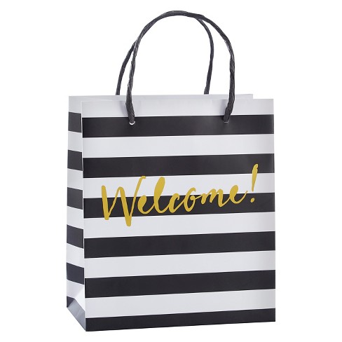 12ct Classic Black And White Striped Welcome Gift Bag - image 1 of 1