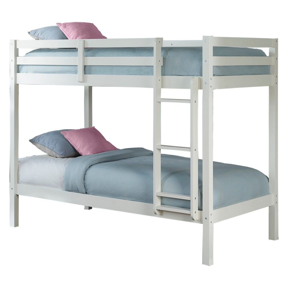 Twin Over Twin Caspian Bunk Bed with Hanging Nightstand White - Hillsdale Furniture