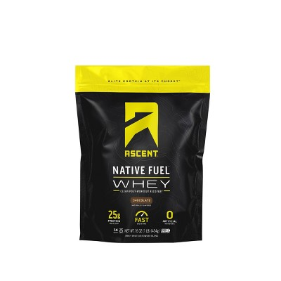 Ascent Native Fuel Whey Protein Powder - Chocolate - 1lbs