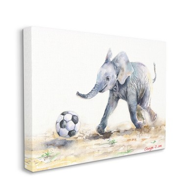 Stupell Industries Elephant Baby Playing Soccer Adorable Jungle Animal