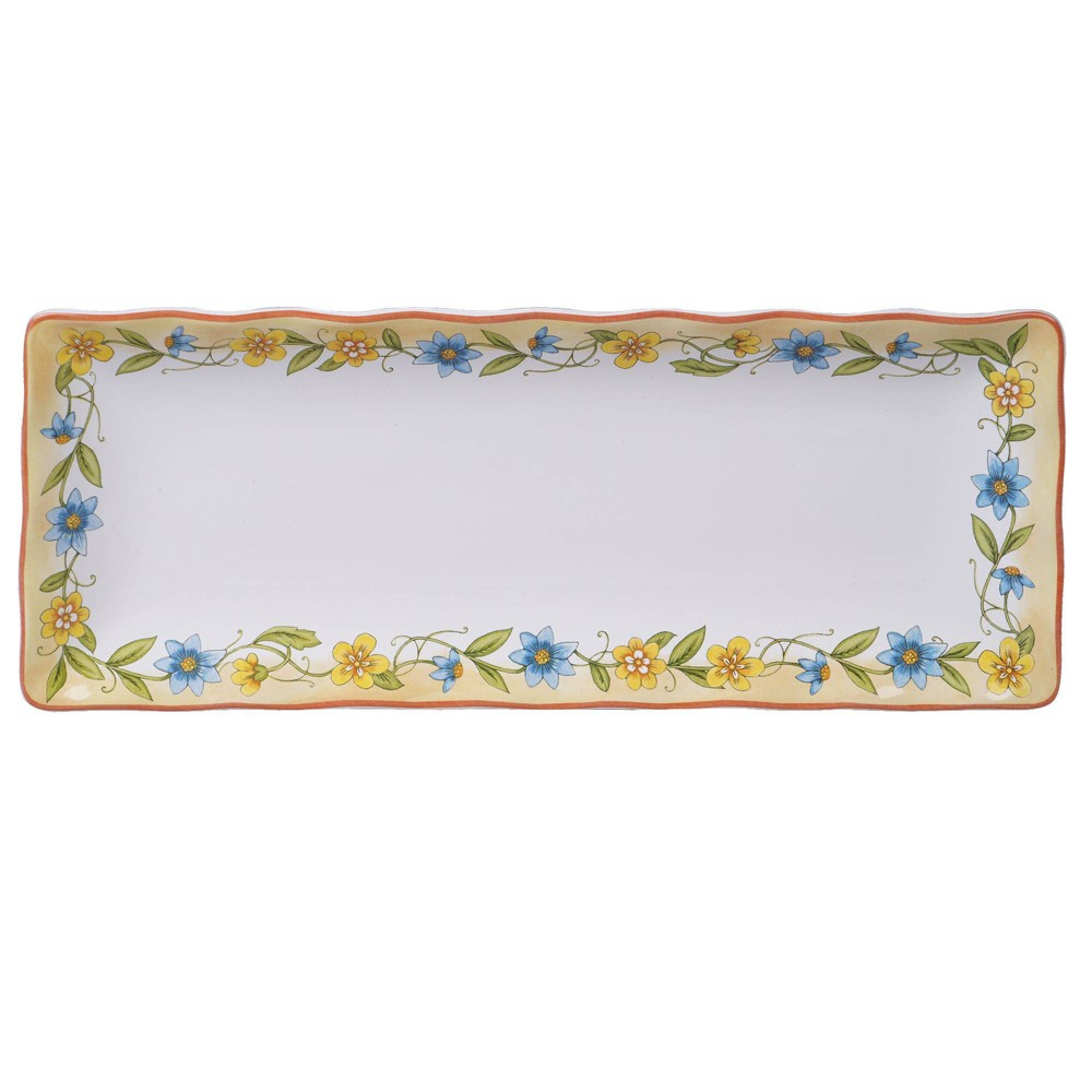 "Image of ""13.8"""" x 5.5"""" Earthenware Torino Serving Tray White - Certified International"""