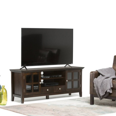Normandy Solid Wood 60 Inch Tv Media Stand Tobacco Brown For Tvs Up