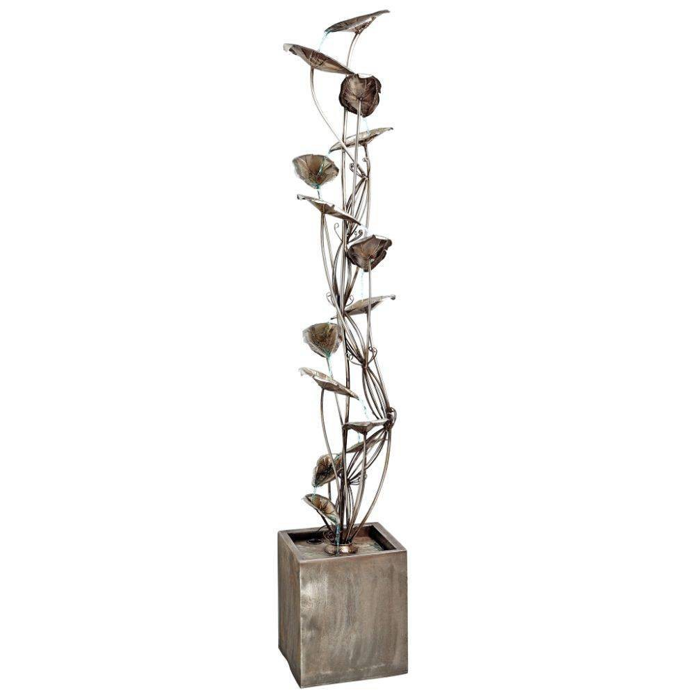 Image of Wandering Leaf Cascading Metal Tower Fountain - Acorn Hollow