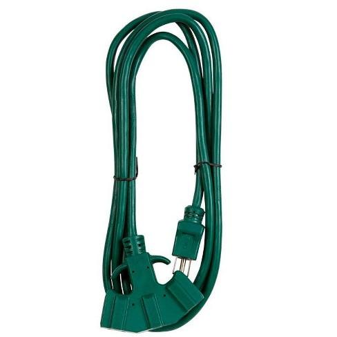 Monoprice 8ft 16/3 SJTW Green Outdoor Ext. Cord w/ EZ Grip Triple Tap - image 1 of 3