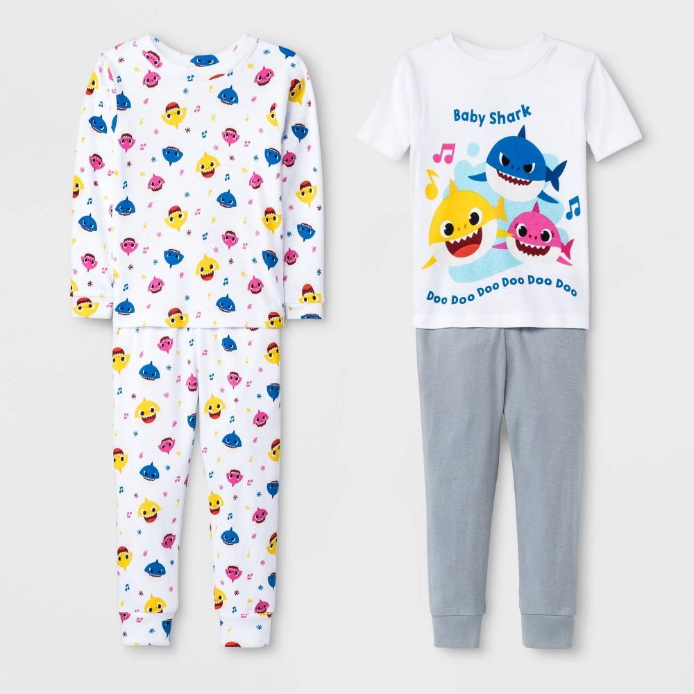 Image of Toddler Boys' 4pc Baby Shark Pajama Set - White/Gray 2T, Boy's, Gray/White