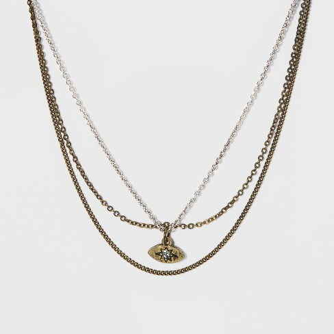 "3 Row with Stones Gold Necklace (14.5"") - Universal Thread™ Worn Gold/Silver - image 1 of 3"