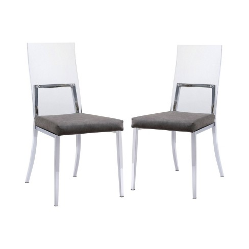 Set of 2 Soren Upholstered Dining Chairs Chrome - miBasics - image 1 of 3