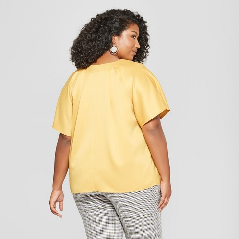 acd44b1a73969b Women's Plus Size Button Front Short Sleeve Blouse - Ava & Viv™ Gold 2X :  Target