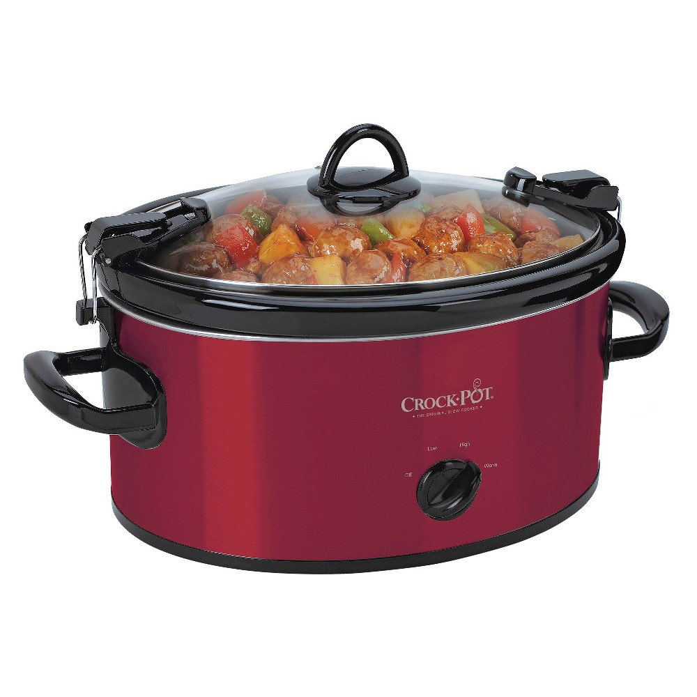 Crock-Pot 6qt Cook & Carry Slow Cooker - Red SCCPVL600-S For cooks who like to share good times and good food! This portable slow cooker eliminates hassle and mess when transporting cooked foods from home. The secure-fitting lid and locking system create a tight seal between the stoneware and lid to ensure contents don't leak or spill. The Crock-Pot Cook and Carry Manual Slow Cooker is a one-pot-wonder for traveling to parties, tailgates, picnics, potlucks and more. With the unit you can slow cook, warm and then serve from the removable stoneware and eliminate extra pots, pans and dishes. Size: 6 quart. Color: Red.