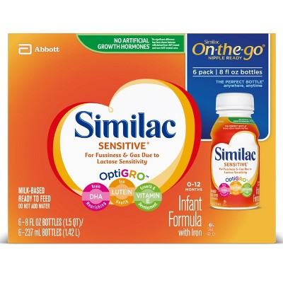 Similac® Sensitive On-the-Go Infant Formula - 8 fl oz/6ct Bottles