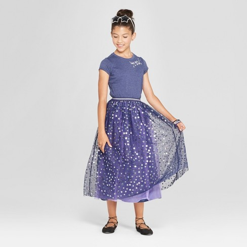 Girls' Tulle Maxi Skirt with Star Foil Print - Cat & Jack™ Navy - image 1 of 3