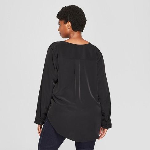5b1434f51a Women s Plus Size Long Sleeve Woven Popover - Ava   Viv™   Target