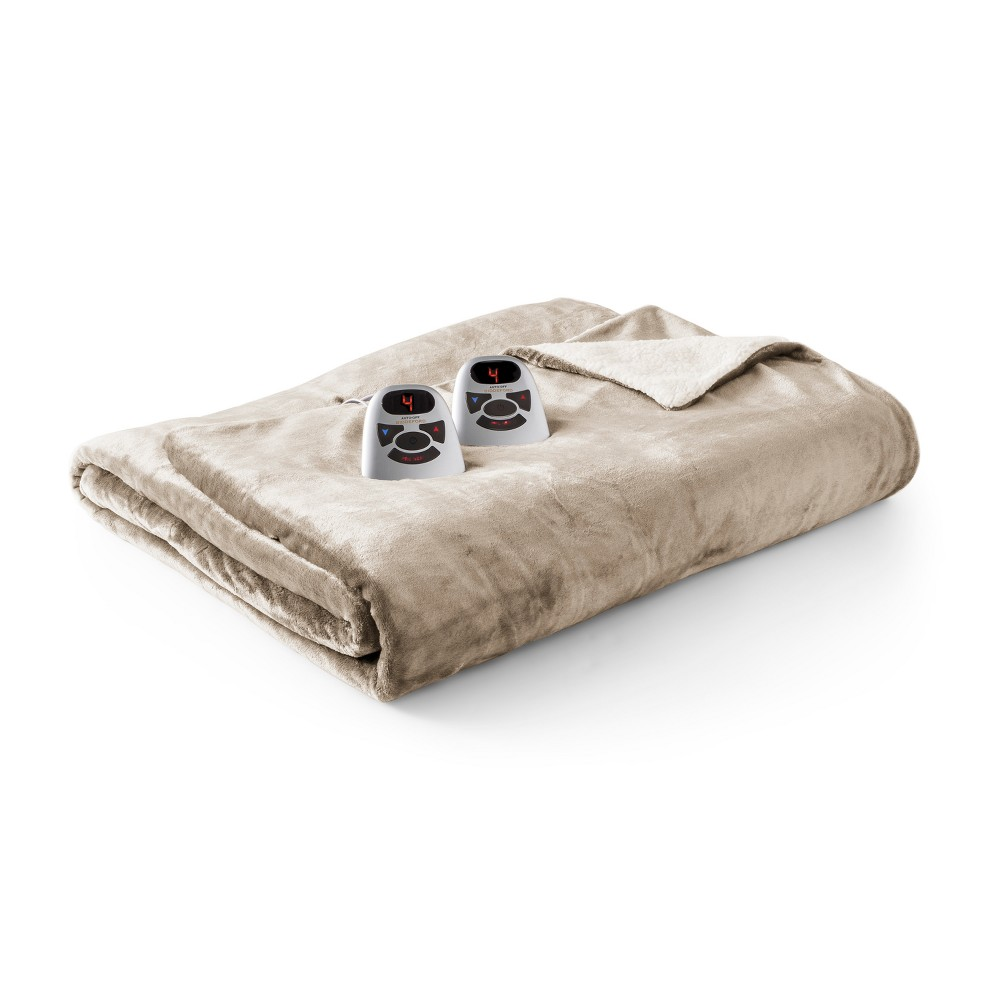 Velour & Sherpa Electric Blanket (Full) Linen- Biddeford Blankets, Linen