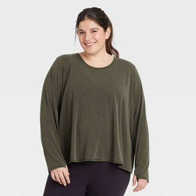 Women's Plus Size Long Sleeve Keyhole Back T-Shirt - All in Motion™