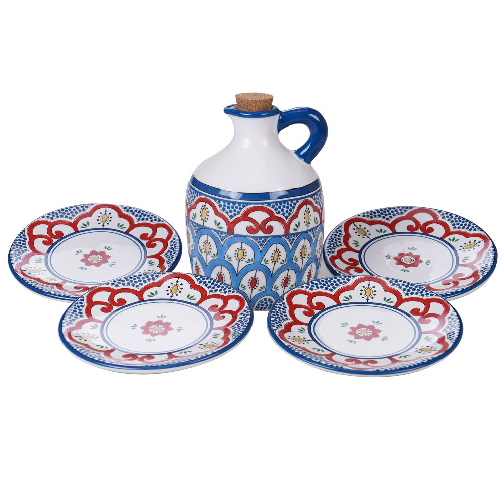 Image of 5pc Earthenware Tangier Olive Oil Set Blue - Certified International, White Red Blue