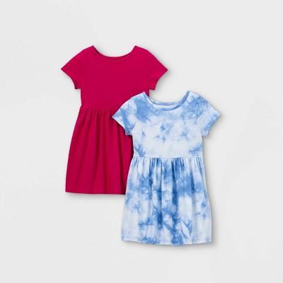 Toddler Girls' 2pk Tie-Dye Rose Dress - Cat & Jack™ Dark Pink/Blue