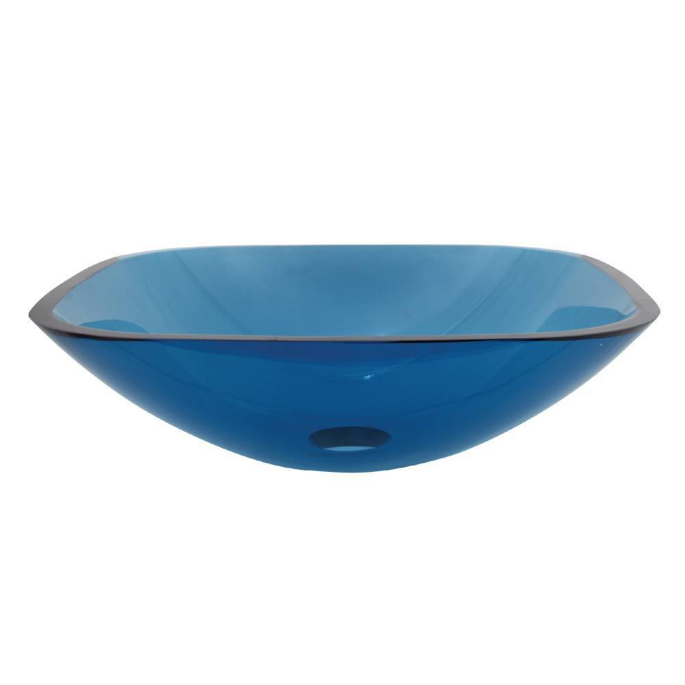 Image of Tempered Glass Square Blue Bathroom Vessel Sink - Kingston Brass
