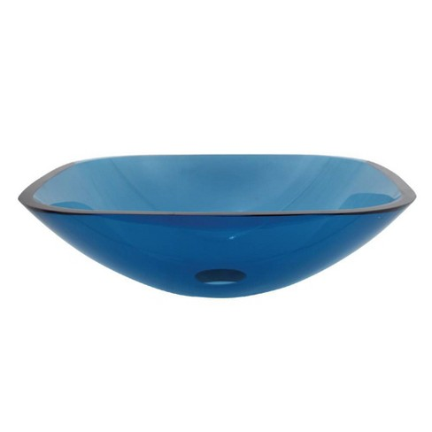 Tempered Glass Square Blue Bathroom Vessel Sink - Kingston Brass
