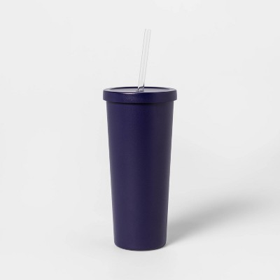 20oz Stainless Steel Tumbler with Straw Blue - Sun Squad™