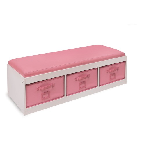 Badger Basket Kid's Storage Bench with Cushion and Three Bins - image 1 of 4