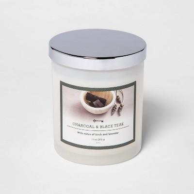 11oz Lidded Milky Glass Jar Charcoal and Black Teak Candle - Threshold™