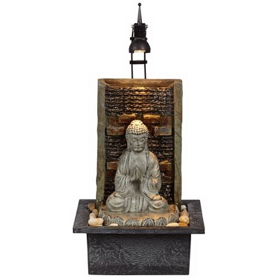"""Zen Indoor Tabletop Water Fountain with Light LED 10 1//4/"""" Waterfall Table Desk"""
