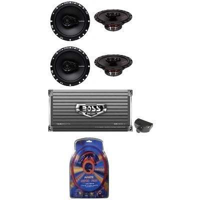 """4) Rockford Fosgate R165X3 6.5"""" 3-Way Car Speakers+ Boss 4 CH Amplifier+Amp Kit"""